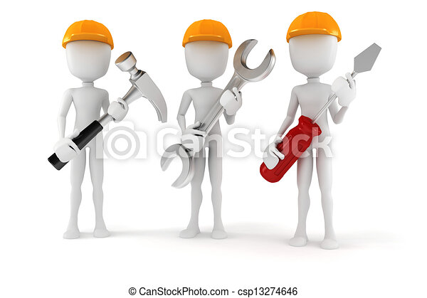 3d man holding tools, on white background - csp13274646