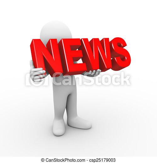 3d man holding word news - csp25179003