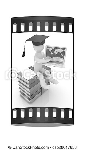 3d man in graduation hat with laptop sits on a colorful glossy boks. The film strip  - csp28617658