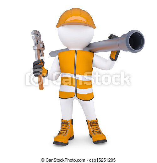 3d man in overalls with screwdriver - csp15251205