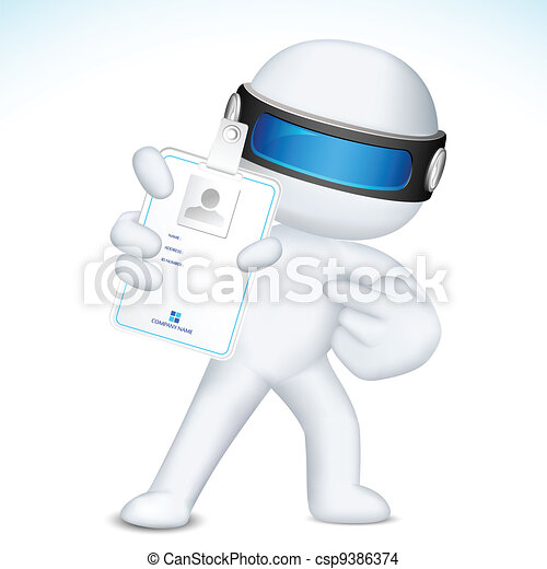 3d Man in Vector showing Identity Card - csp9386374