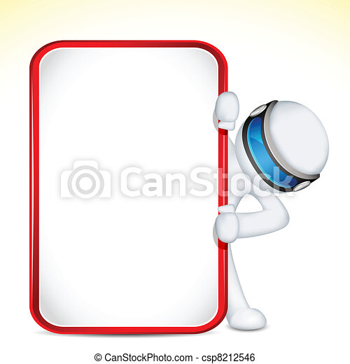 3d Man in Vector with Placard - csp8212546