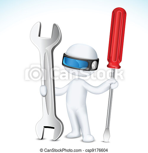 3d Man in Vector with Tools - csp9176604