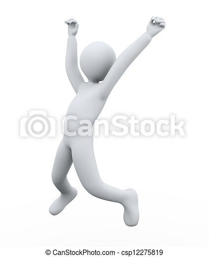 3d man joy jumping - csp12275819