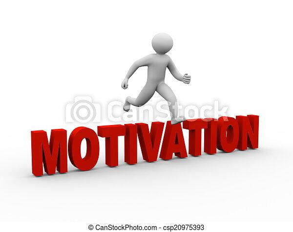 3d man jumping over motivation - csp20975393
