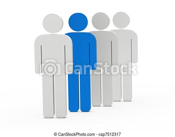 3d man leadership blue - csp7512317