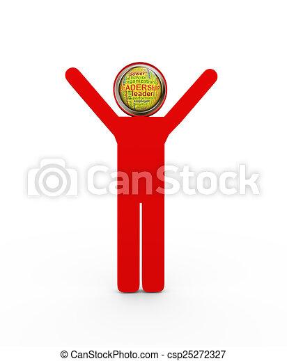 3d man leadership wordcloud head - csp25272327