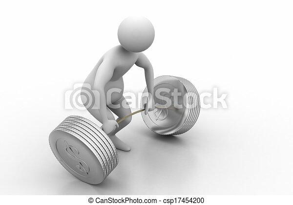 3d man lifting weights   - csp17454200