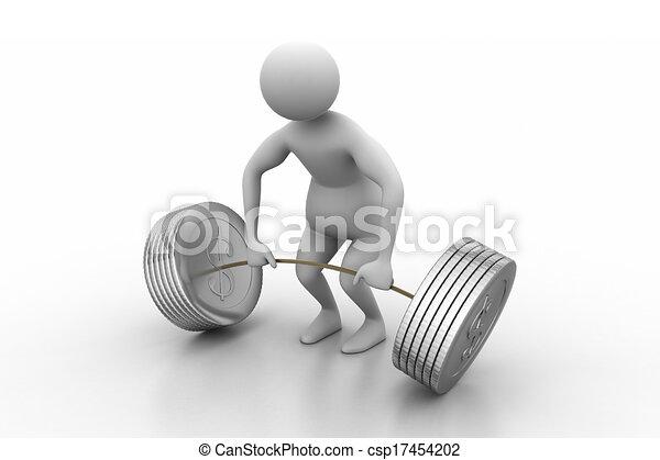 3d man lifting weights   - csp17454202