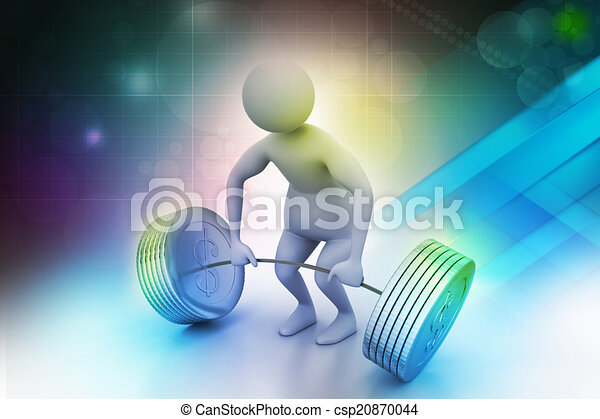 3d man lifting weights   - csp20870044