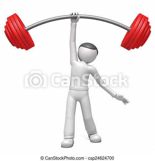 3d man  lifting weights  - csp24624700