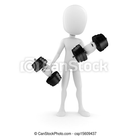 3d man lifting weights - csp15609437