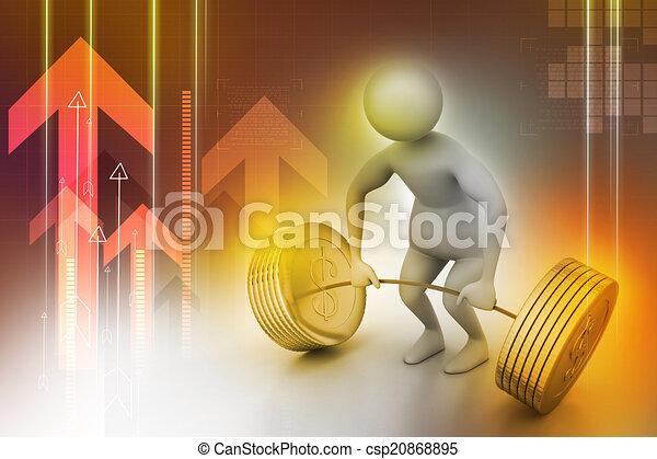 3d man lifting weights   - csp20868895