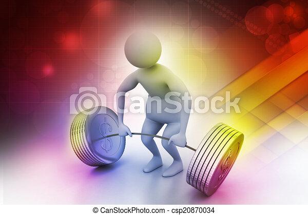 3d man lifting weights   - csp20870034