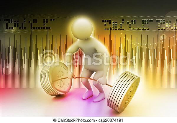 3d man lifting weights   - csp20874191