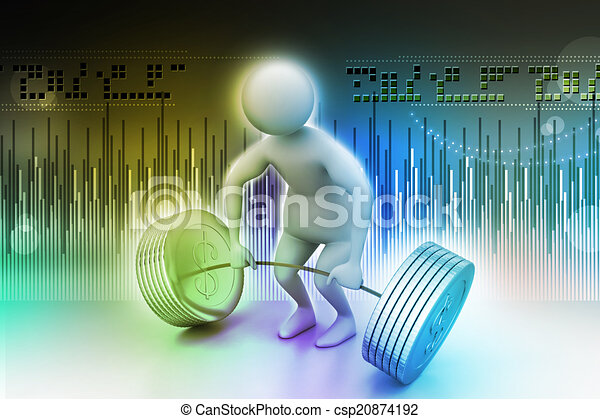 3d man lifting weights   - csp20874192