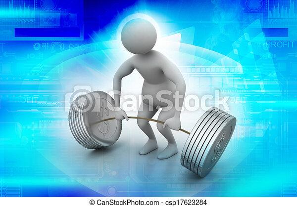 3d man lifting weights   - csp17623284
