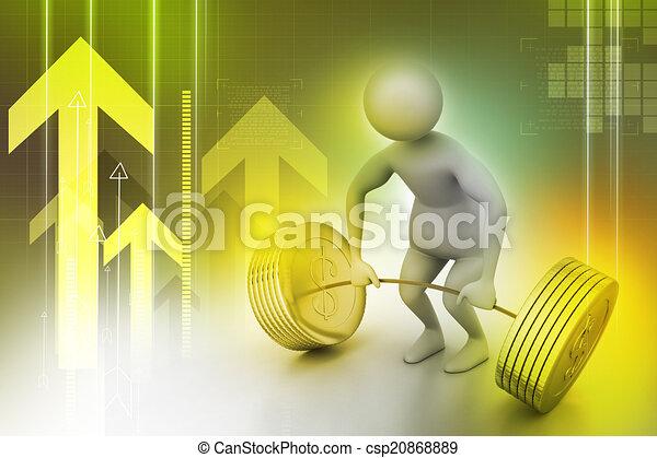 3d man lifting weights   - csp20868889