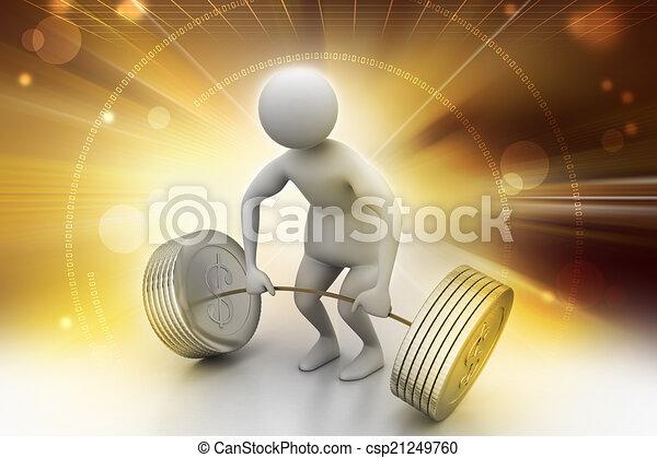 3d man lifting weights   - csp21249760