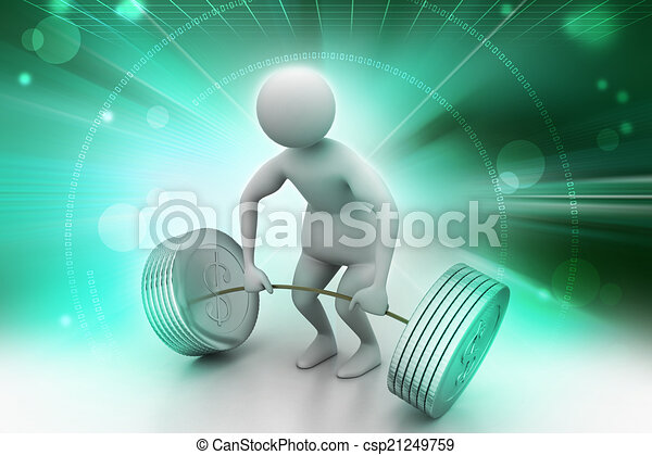 3d man lifting weights   - csp21249759