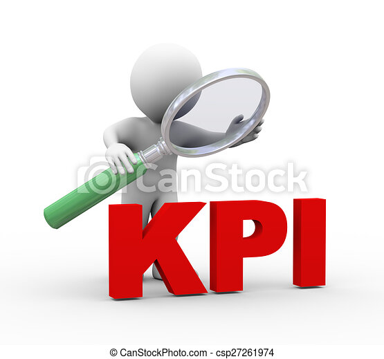 3d man looking at word kpi with magnifier - csp27261974