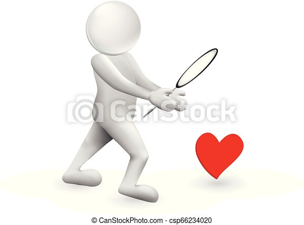 3D man looking for love heart vector - csp66234020