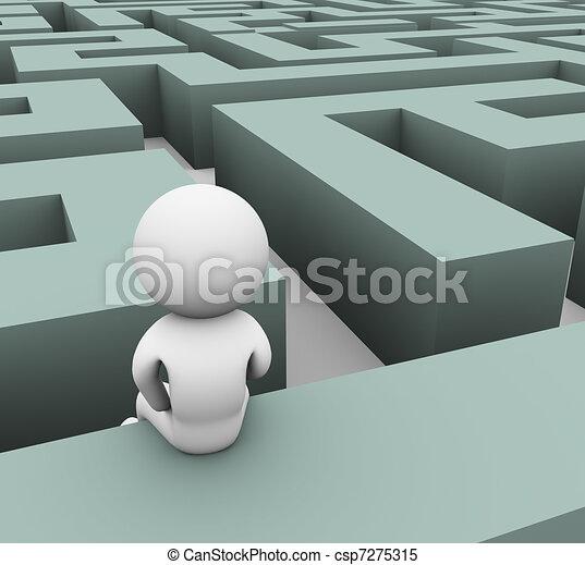 3d man lost in maze - csp7275315