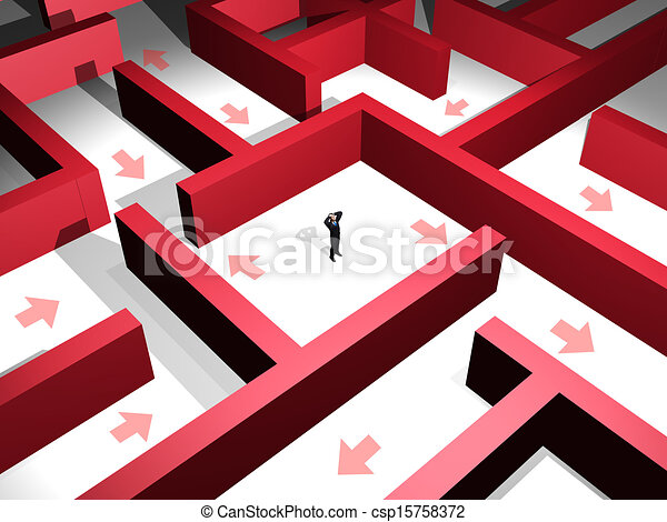3d man lost in the midle of a red maze stock illustrations - search