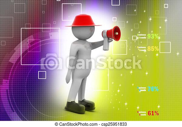 3d man making announcement over loudspeaker - csp25951833