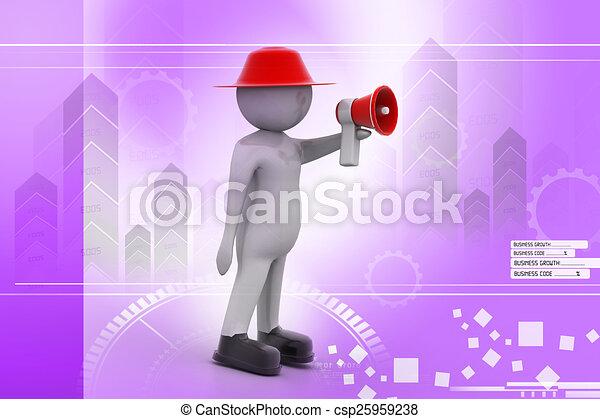 3d man making announcement over loudspeaker - csp25959238