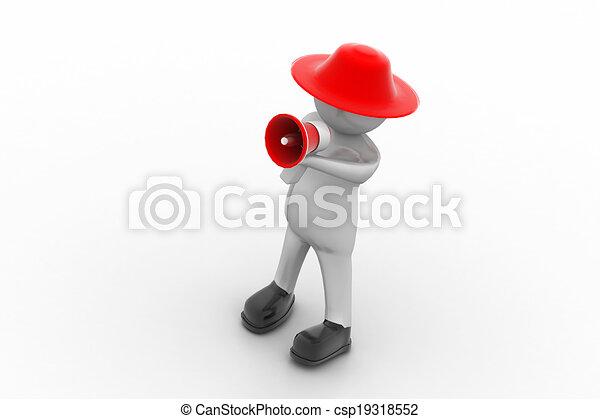 3d man making announcement over loudspeaker - csp19318552