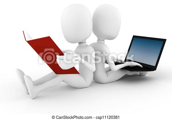 3d man old vs new technology - csp11120381