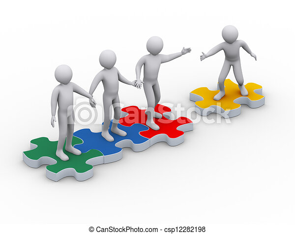 3d man on puzzle joining team work. 3d illustration of man ...