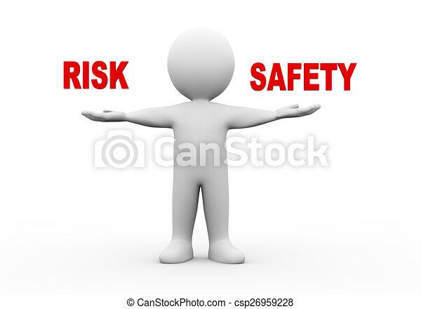 3d man open hands risk safety - csp26959228