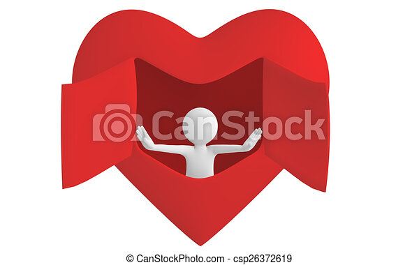 Line Art Love Heart : D man open heart window himself to love again clipart
