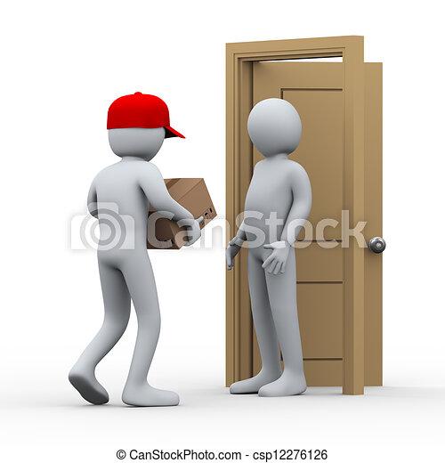 3d man parcel home delivery - csp12276126