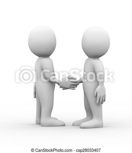 3d man partner friend hand shake - csp28033407