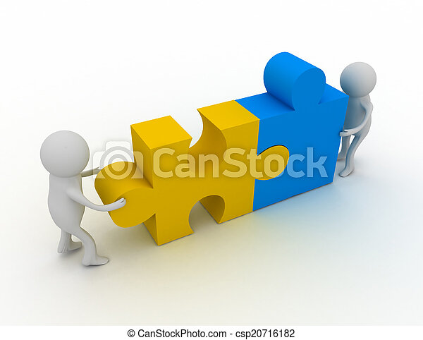 3d man person with pieces of puzzle - csp20716182