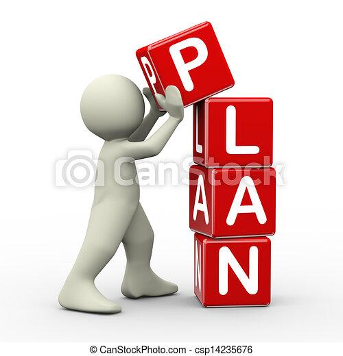 3d man placing plan cubes - csp14235676