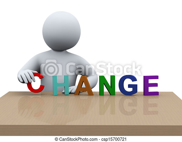 3d man placing word change - csp15700721