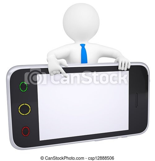 3d man points a finger at the screen smartphone - csp12888506