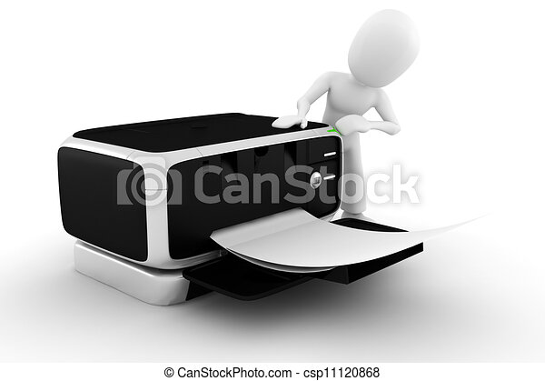 3d man printing some documents - csp11120868