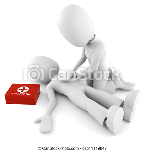 3d man providing first aid support - csp11119847