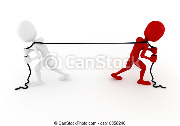 3d man pulling a rope, on white background - csp10858240