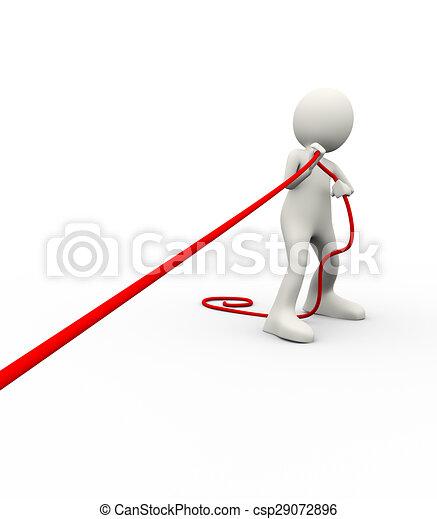 3d man pulling rope - csp29072896