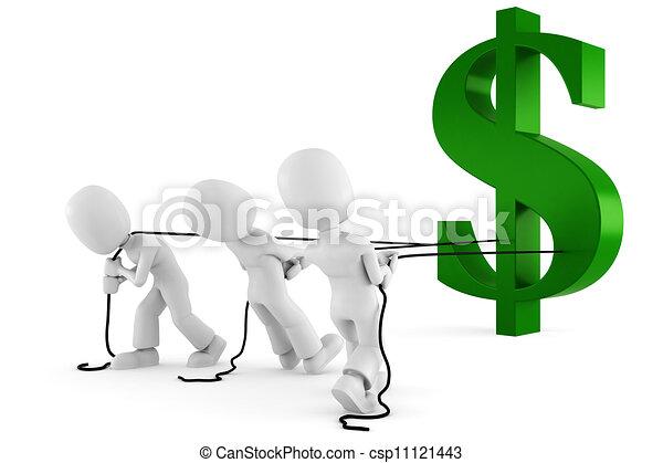 3d man pulling the dollar symbol - csp11121443