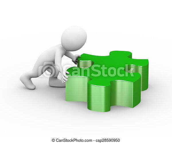 3d man pushing large puzzle piece - csp28590950