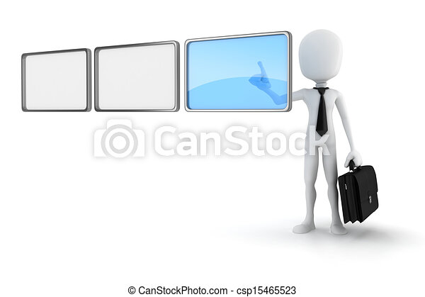 3d man pushing on a virtual screen  - csp15465523