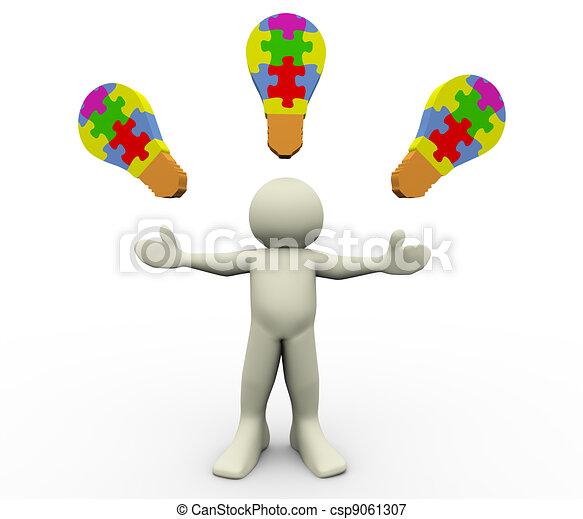 3d man puzzle bulbs - csp9061307