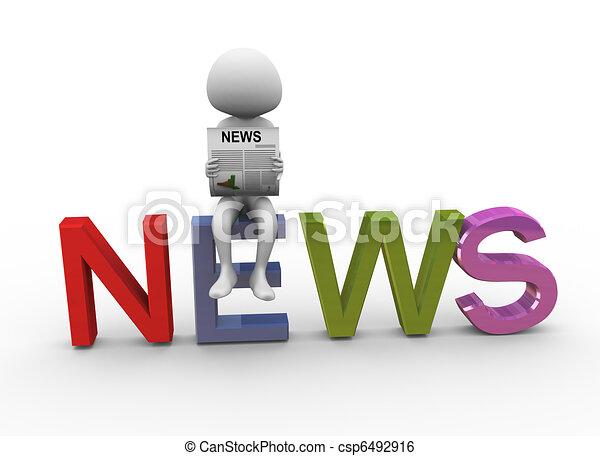 3d man reading news - csp6492916